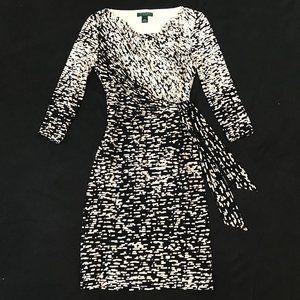 RL faux-wrap tie front dress